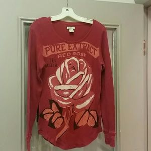 Red thermal Lucky Brand long sleeve shirt